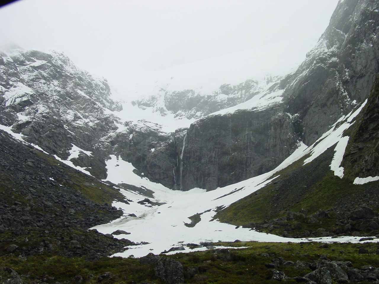 Looking towards a wall near the Homer Tunnel