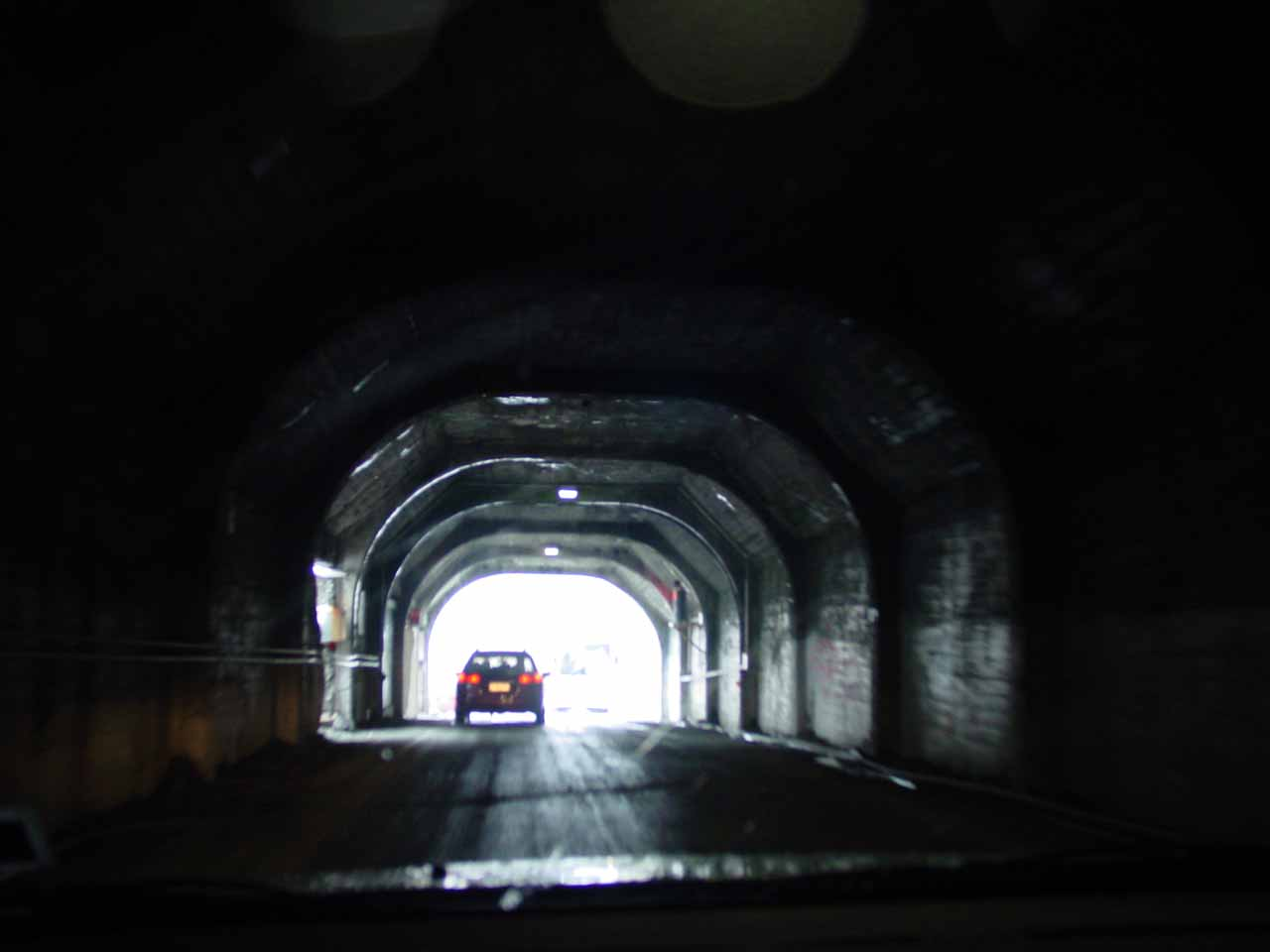 Following a car back out of the Homer Tunnel