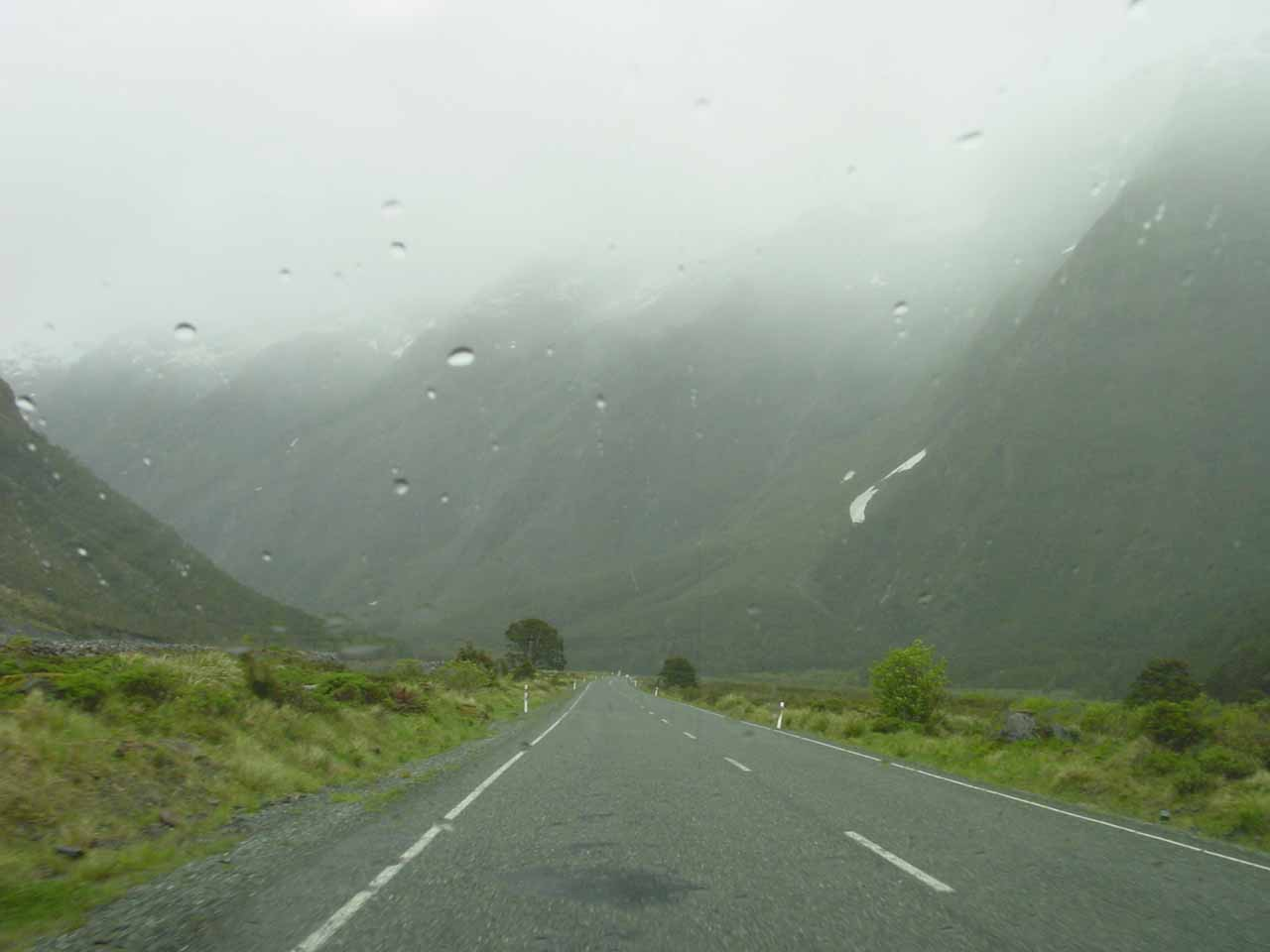 Driving in the rain on the Milford Highway as we were headed to Hollyford Valley