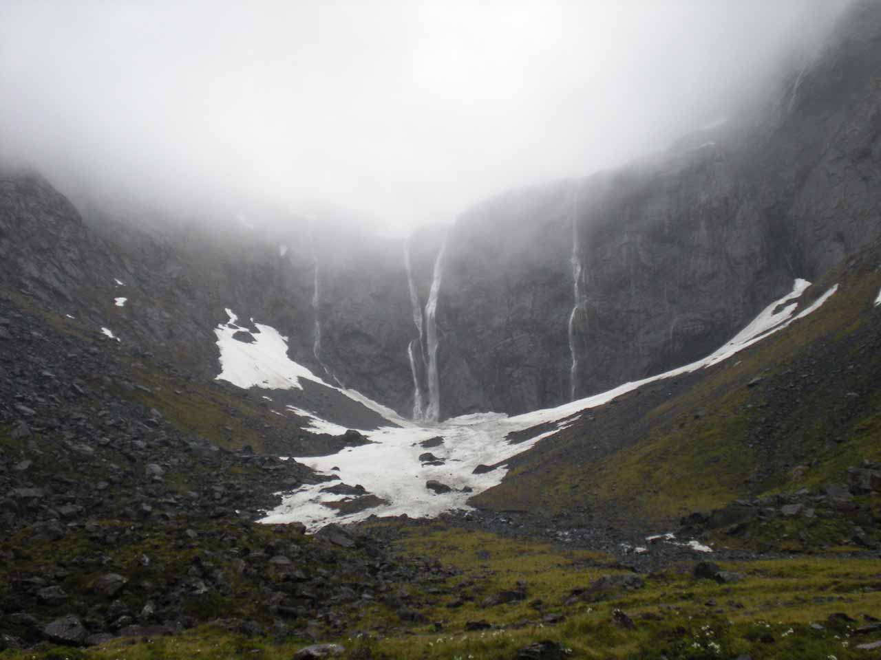 In December 2009, here's another look at the cirque by the Homer Tunnel where this time we saw a few more strands of waterfalls as opposed to the November 2004 experience