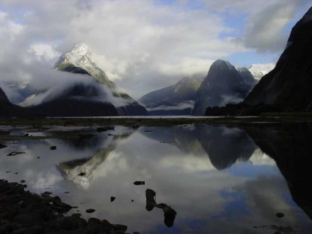 Milford_Sound_009_11302004 - This was the famous view of the Milford Sound from the car park near the end of the SH94, but whether you see it in this form or not largely depends on the weather (it rains a lot here)
