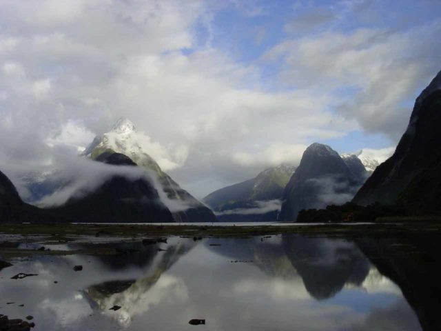 Milford_Sound_016_11302004 - This was the famous view of the Milford Sound that I was able to photograph during breakfast after having spent the night at the Mitre Peak Lodge (exclusive to guided trampers)