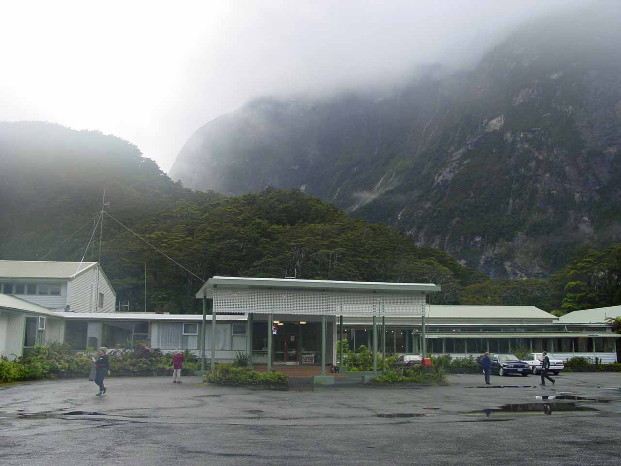 Looking back at the Mitre Peak Lodge