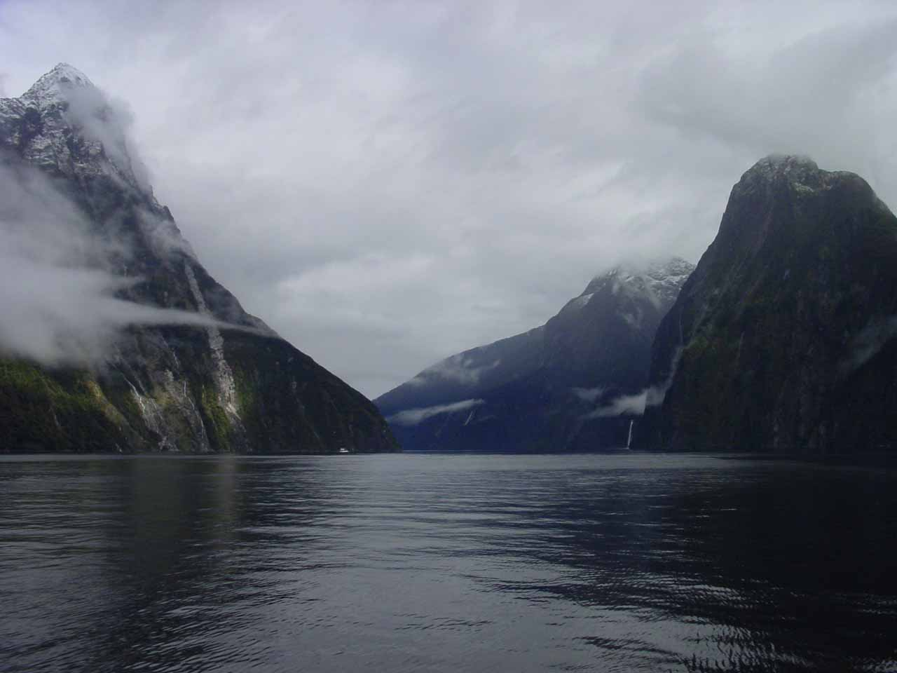 Looking ahead towards the Milford Sound from the cruise vessel