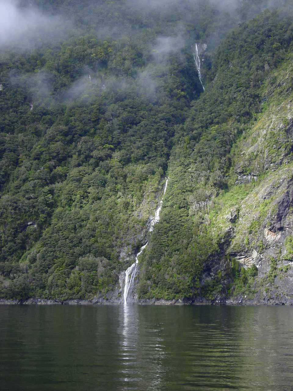Looking towards one of the more pronounced temporary waterfalls during our 2004 cruise