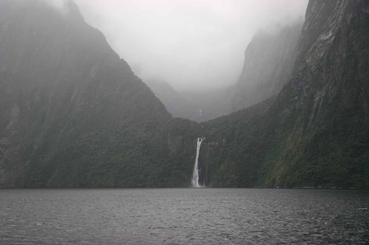 Looking through the rain towards Stirling Falls during our 2009 cruise