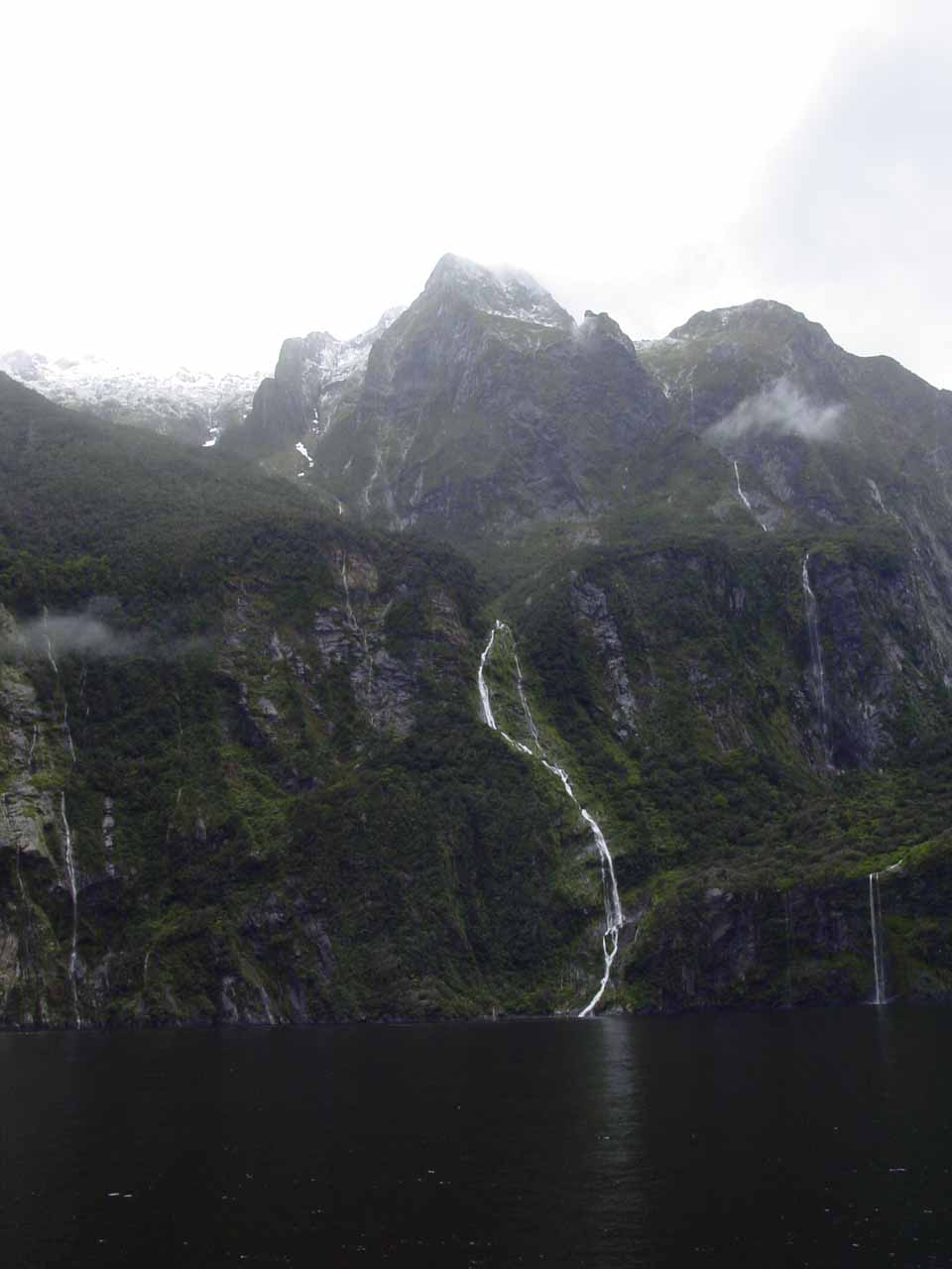 Looking across the fiord towards the S-shaped Palisade Falls