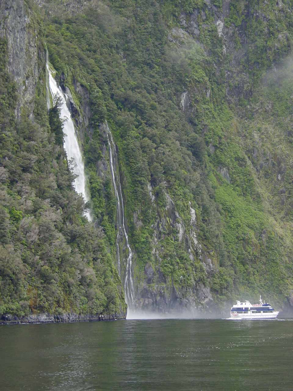 A cruise vessel in front of us was just done going beneath Stirling Falls