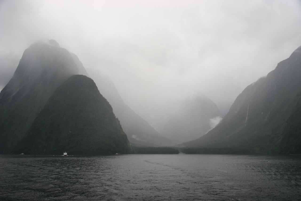Looking back at a very foggy Harrison Cove towards the end of our 2009 cruise