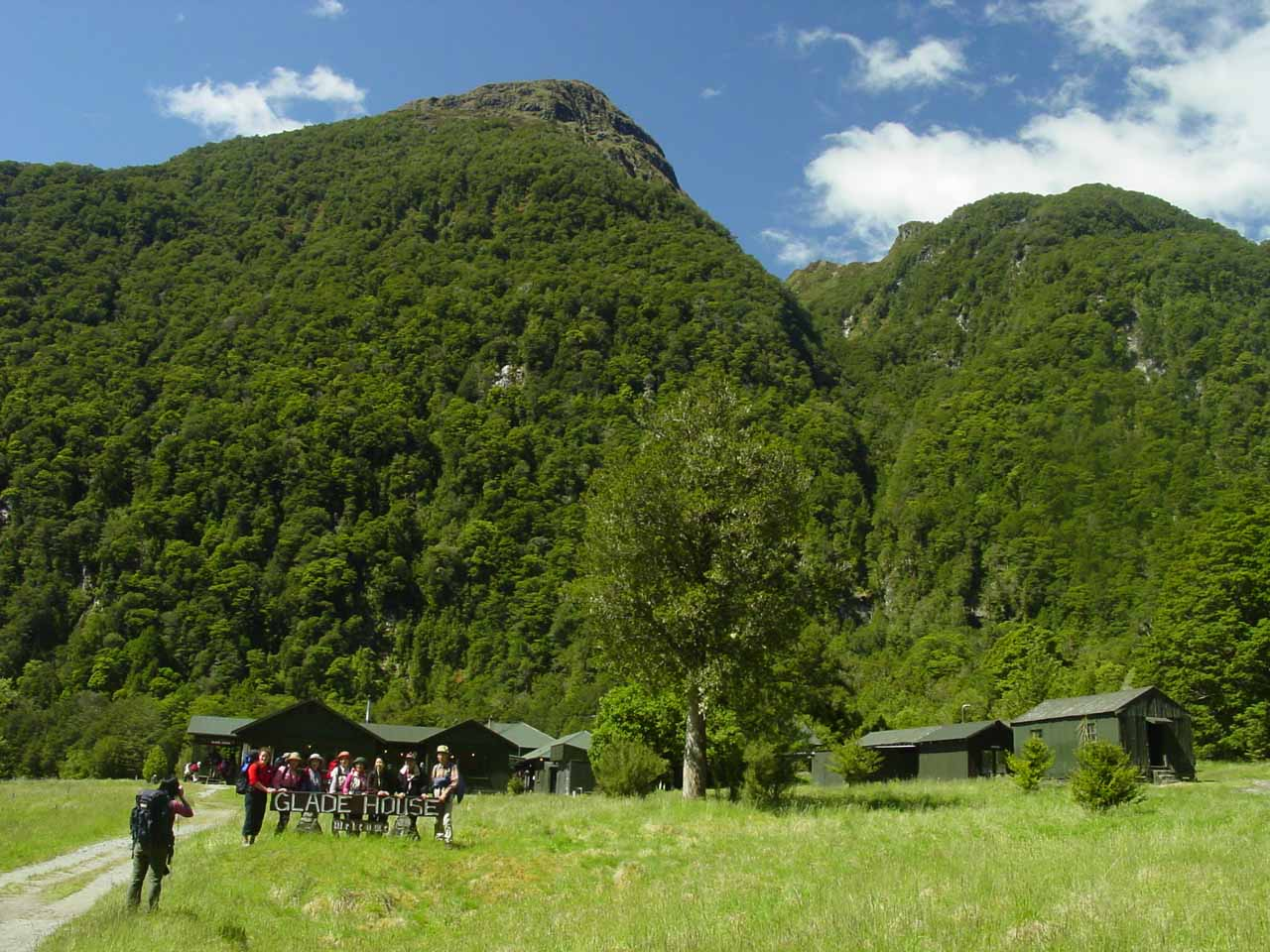 Approaching the Glade House for our first night on the Milford Track