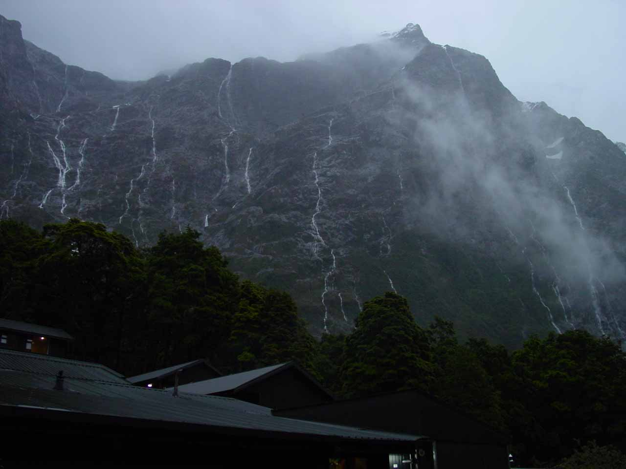 Waterfalls coming down like veins behind the Pompolona Hut