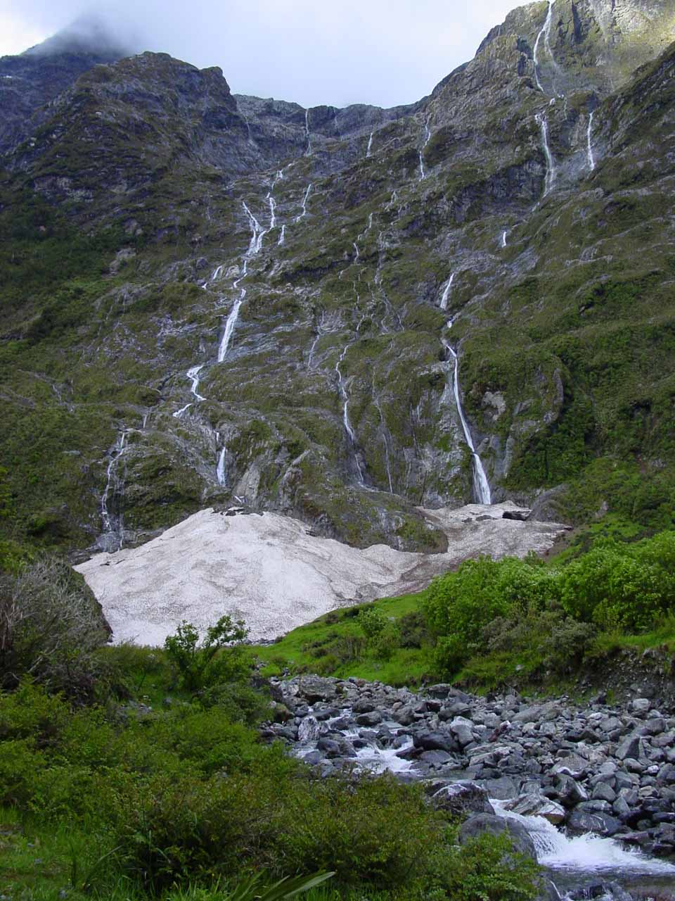 A series of waterfalls seen at the start of Day 3 of the Milford Track