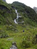 Milford_Track_day3_017_11282004 - Julie passing before one of the thicker unnamed waterfalls on Day 3 of the Milford Track
