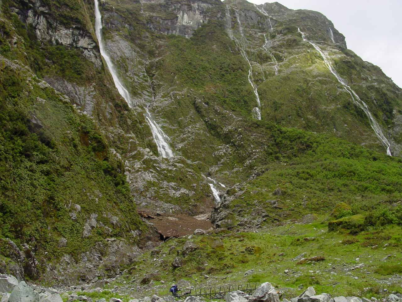 Passing before several dozen ephemeral waterfalls seen on Day 3 of the Milford Track