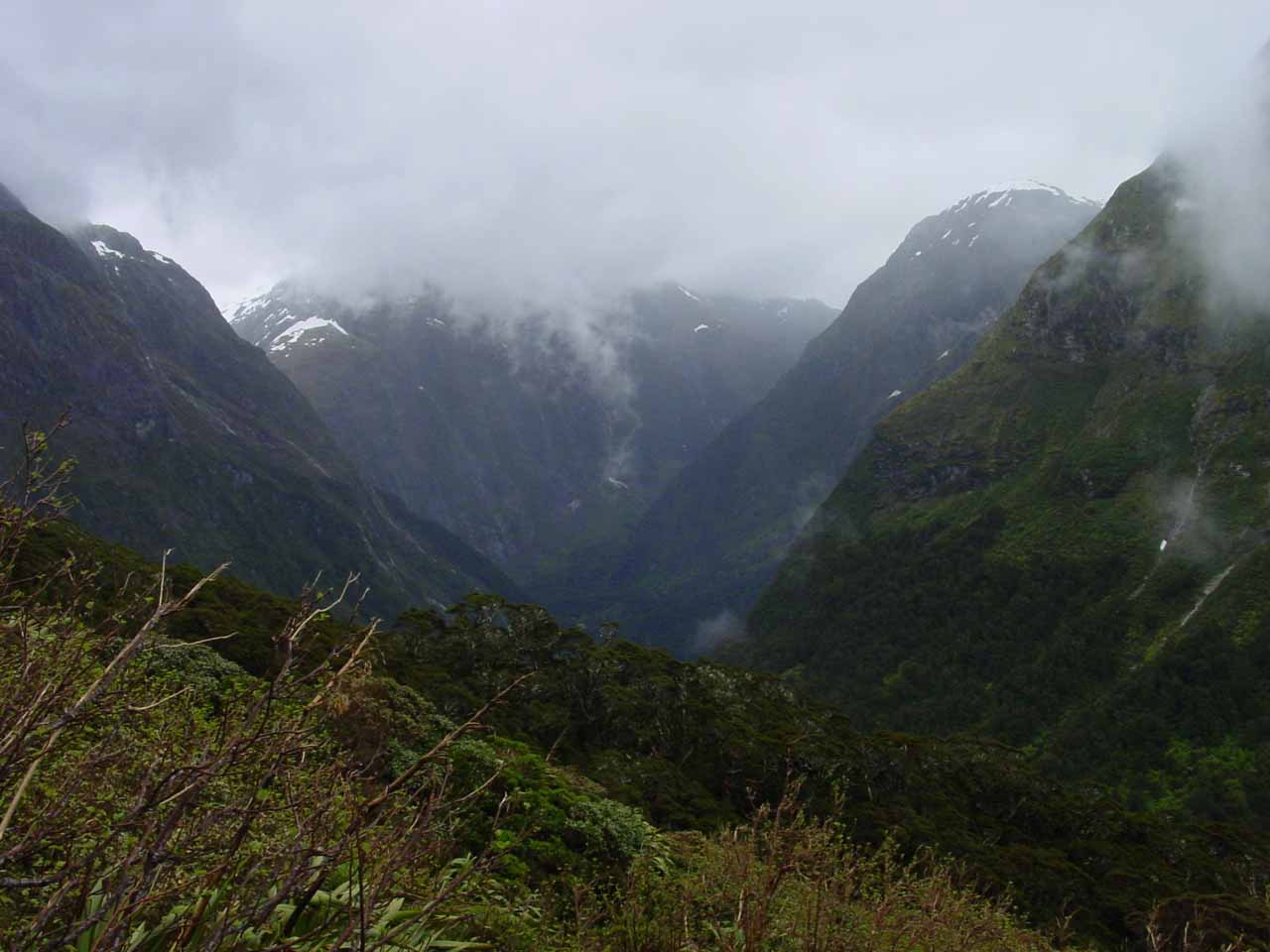 Looking into the steep Arthur Valley on the other side of Mackinnon Pass