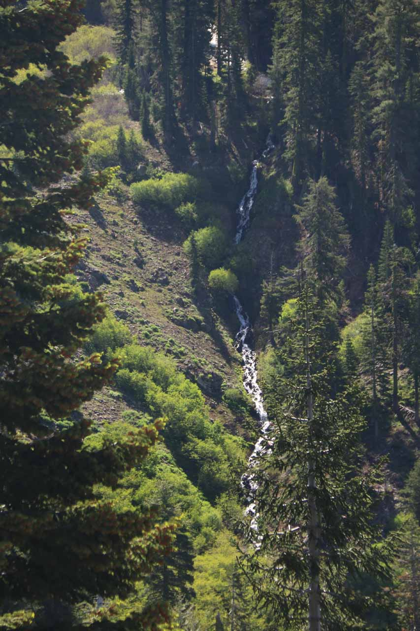 One of the things we noticed was this thin cascade way on the other side of the canyon to our right