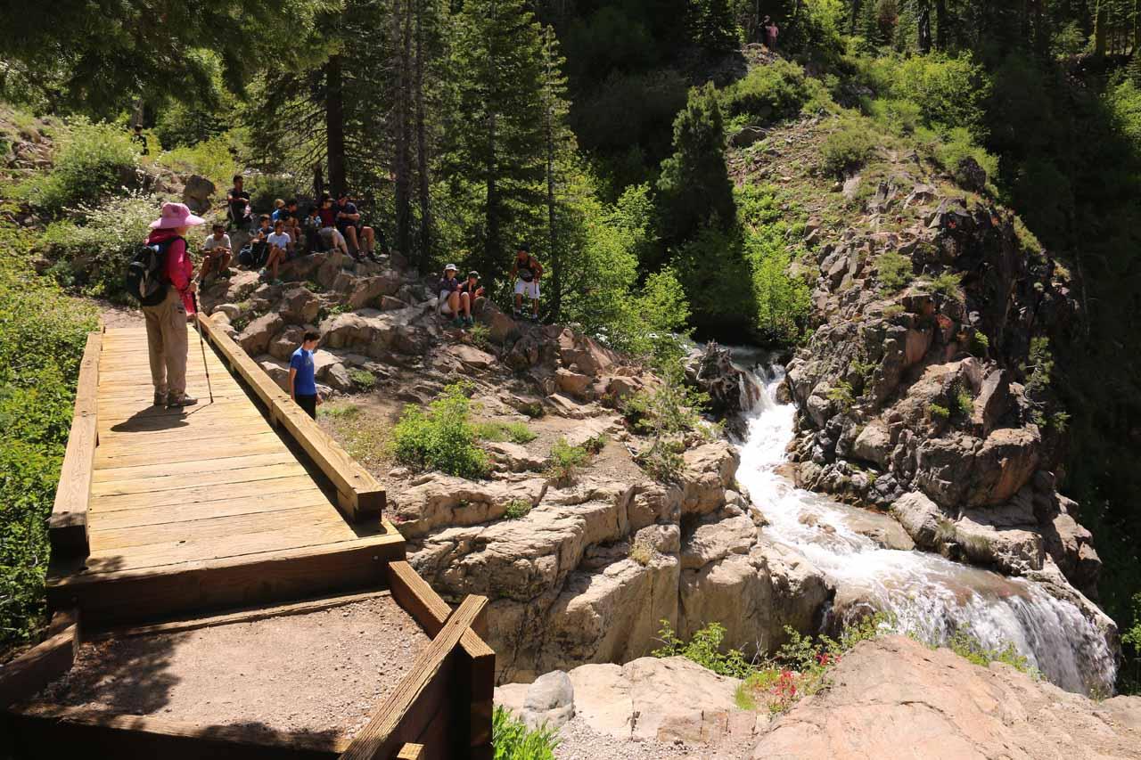 At the bridge over East Sulphur Creek looking towards Bumpass Creek and the brink of Mill Creek Falls