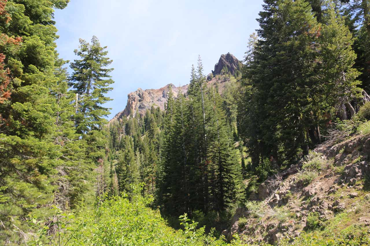 Nearby Mill Creek Falls, we noticed more craggy volcanic peaks barely revealing themselves