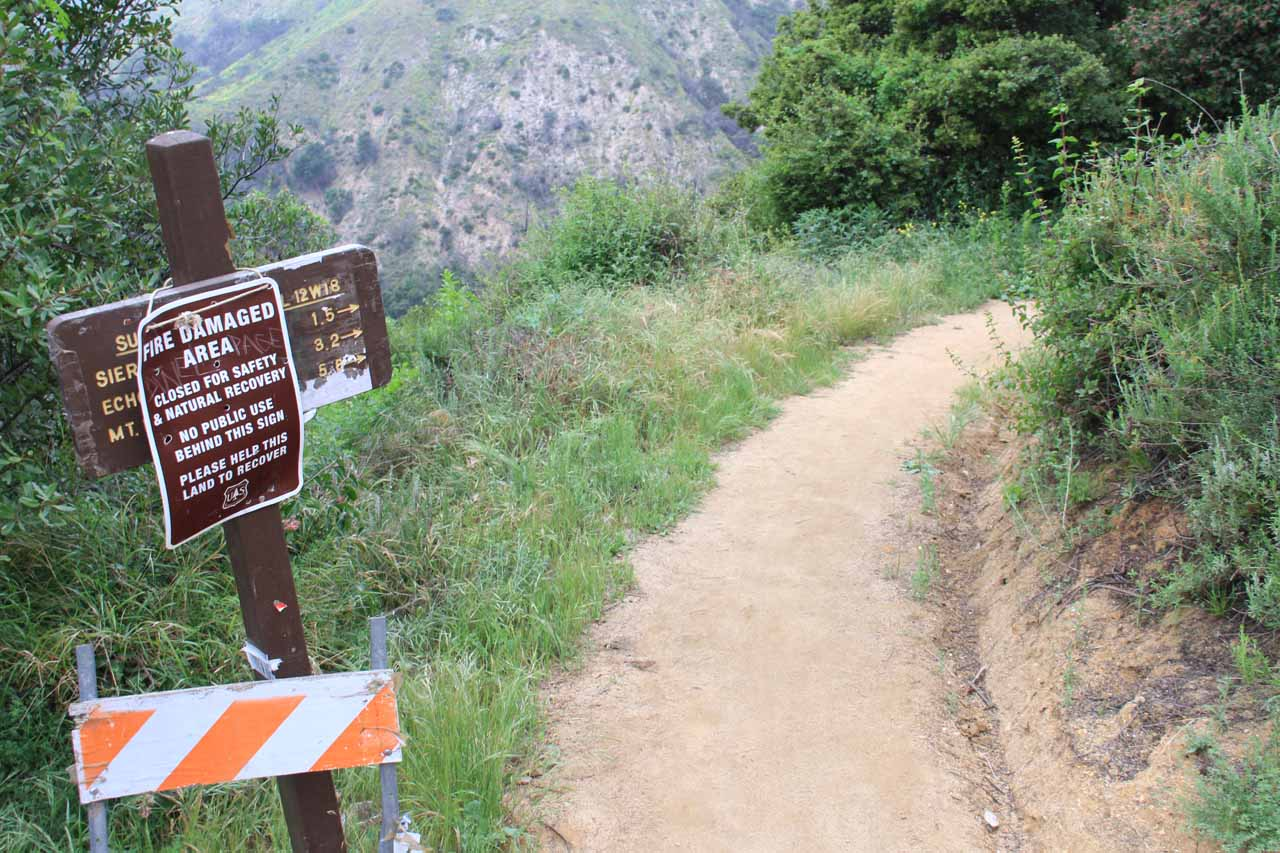 Sign at start of foot trail