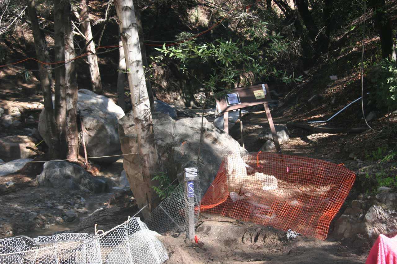 Barricades set up to prevent further access into the canyon
