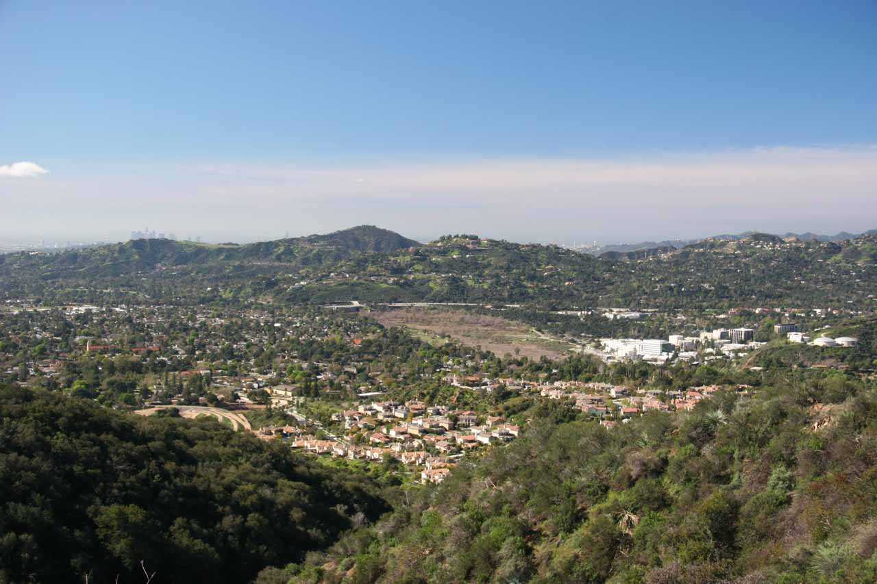 Looking down towards some foothill communities from Chaney Trail Road