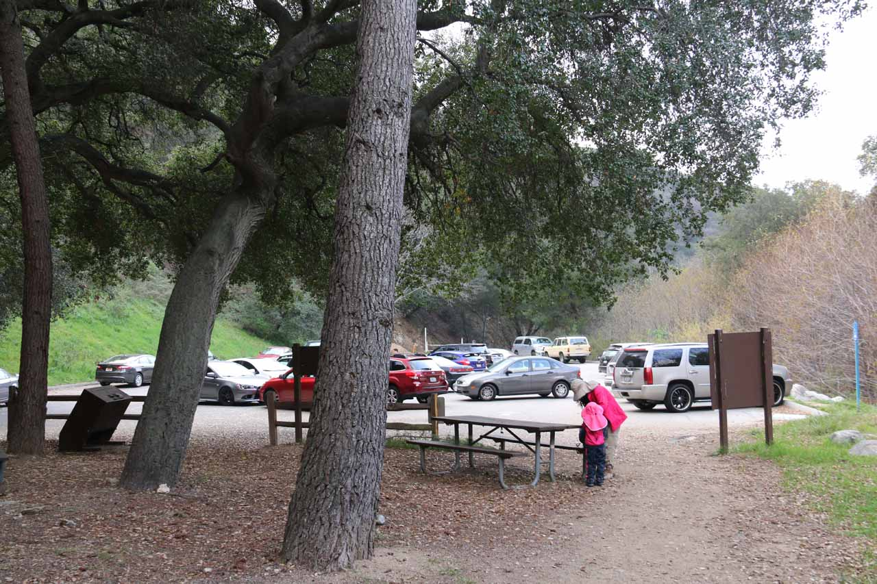At the car park for the Millard Picnic Area and Campground