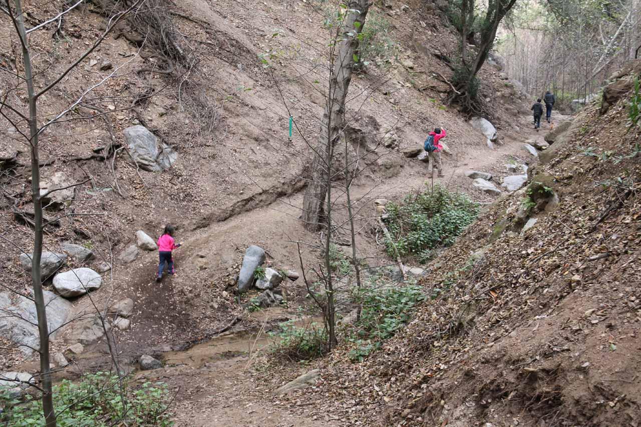 Julie and Tahia getting past one of the pretty easy stream crossings of Millard Creek