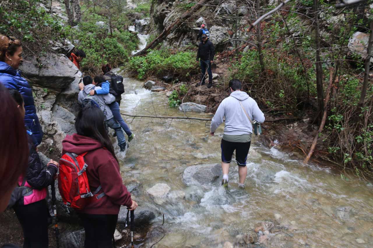 Under unusually wet conditions, Millard Creek can swell up making previously easy creek crossings into wet adventures like what's shown here