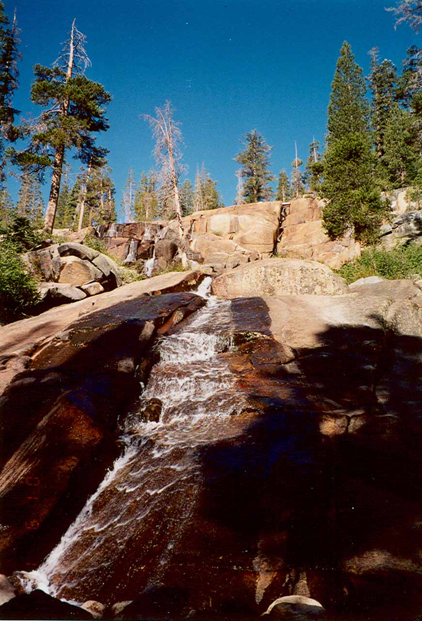 Looking up at Minaret Falls in low flow from Sept 2001