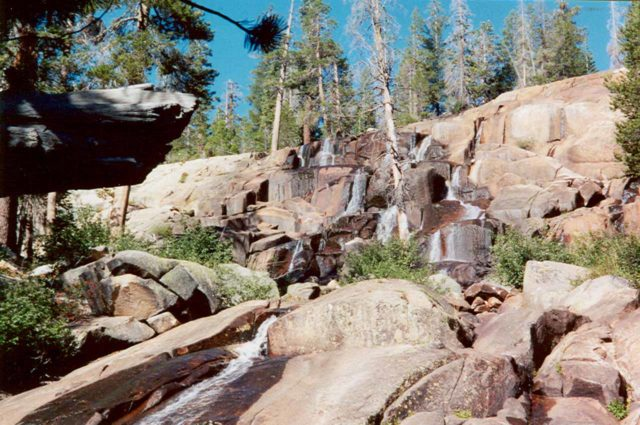 Minaret_Falls_002_scanned_09012001 - Looking up from the base of Minaret Falls in low flow during our September 2001 visit