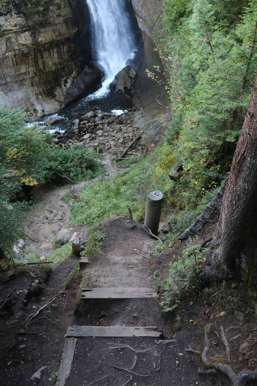Below the lookout deck for Miners Falls, it appeared that the stairs used to keep going all the way down to the bottom