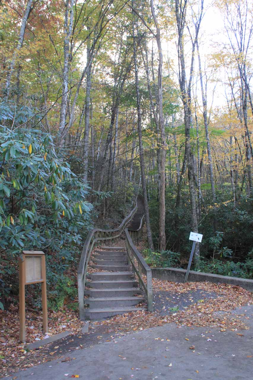 The stairs at the car park for Mingo Falls