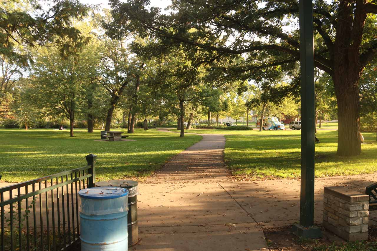 Looking towards the big lawn and picnic area near Minnehaha Falls