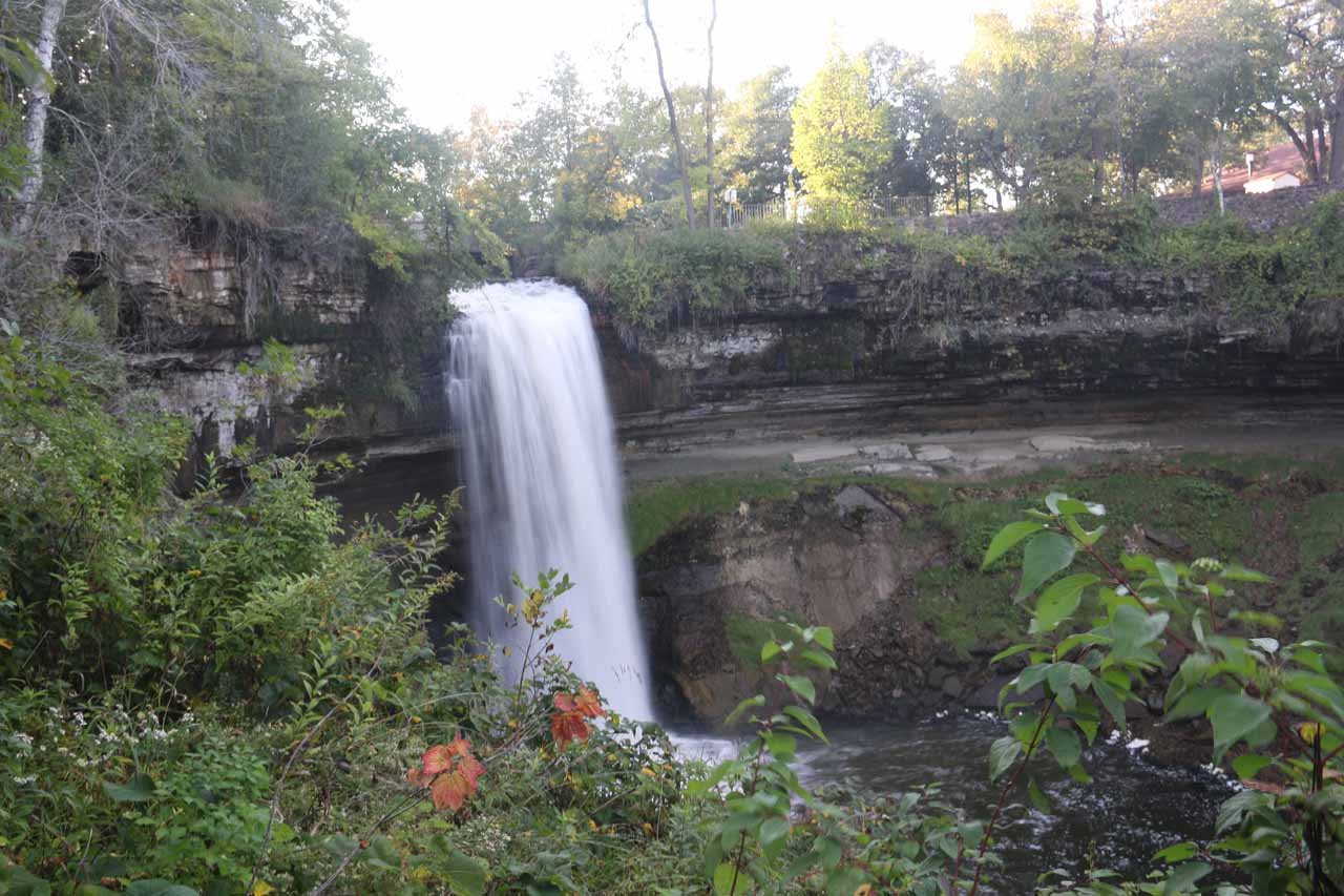 Angled view of Minnehaha Falls from the other side