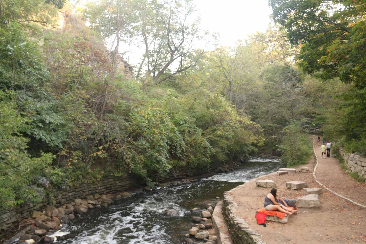 Looking downstream from the bridge before Minnehaha Falls