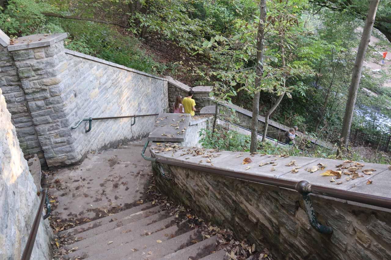 Descending towards the bottom of Minnehaha Falls