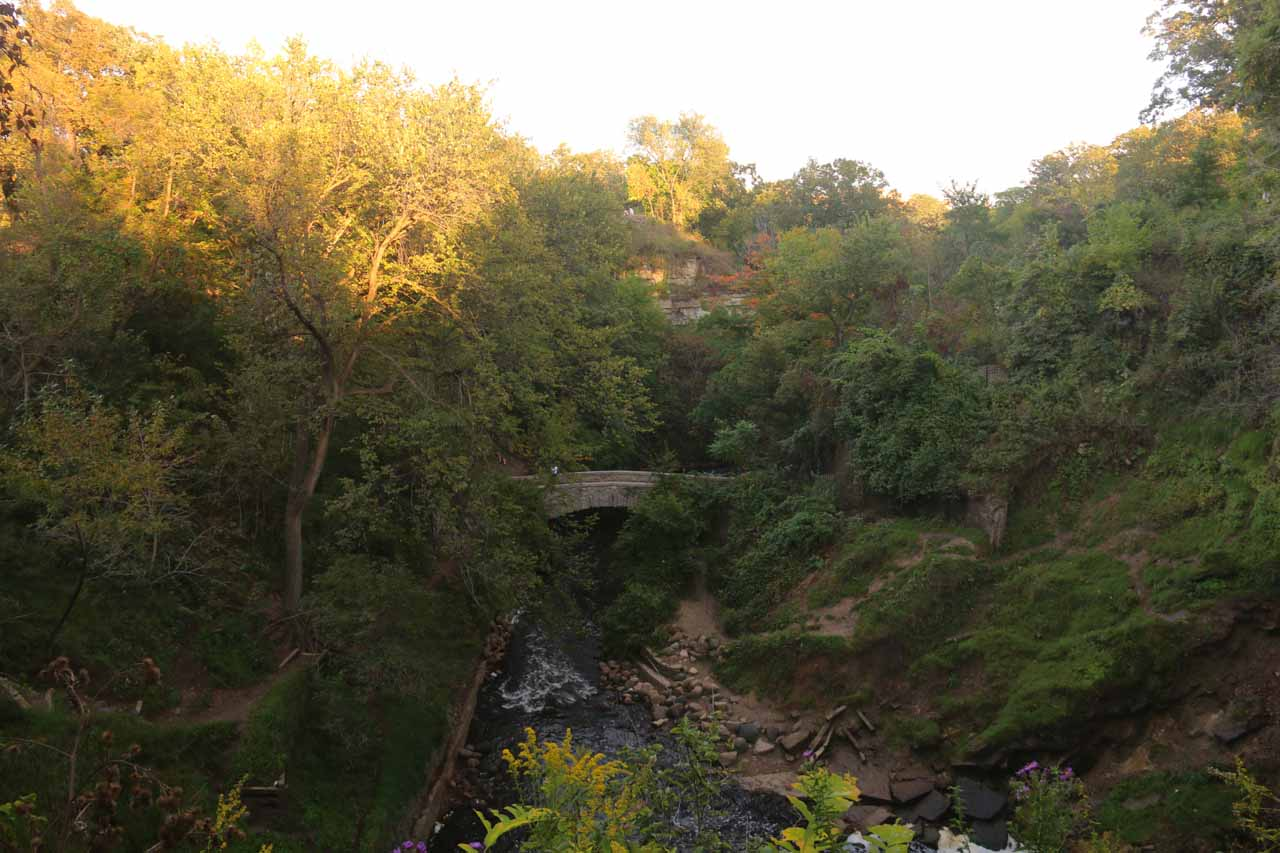 Looking downstream from the bridge just above Minnehaha Falls
