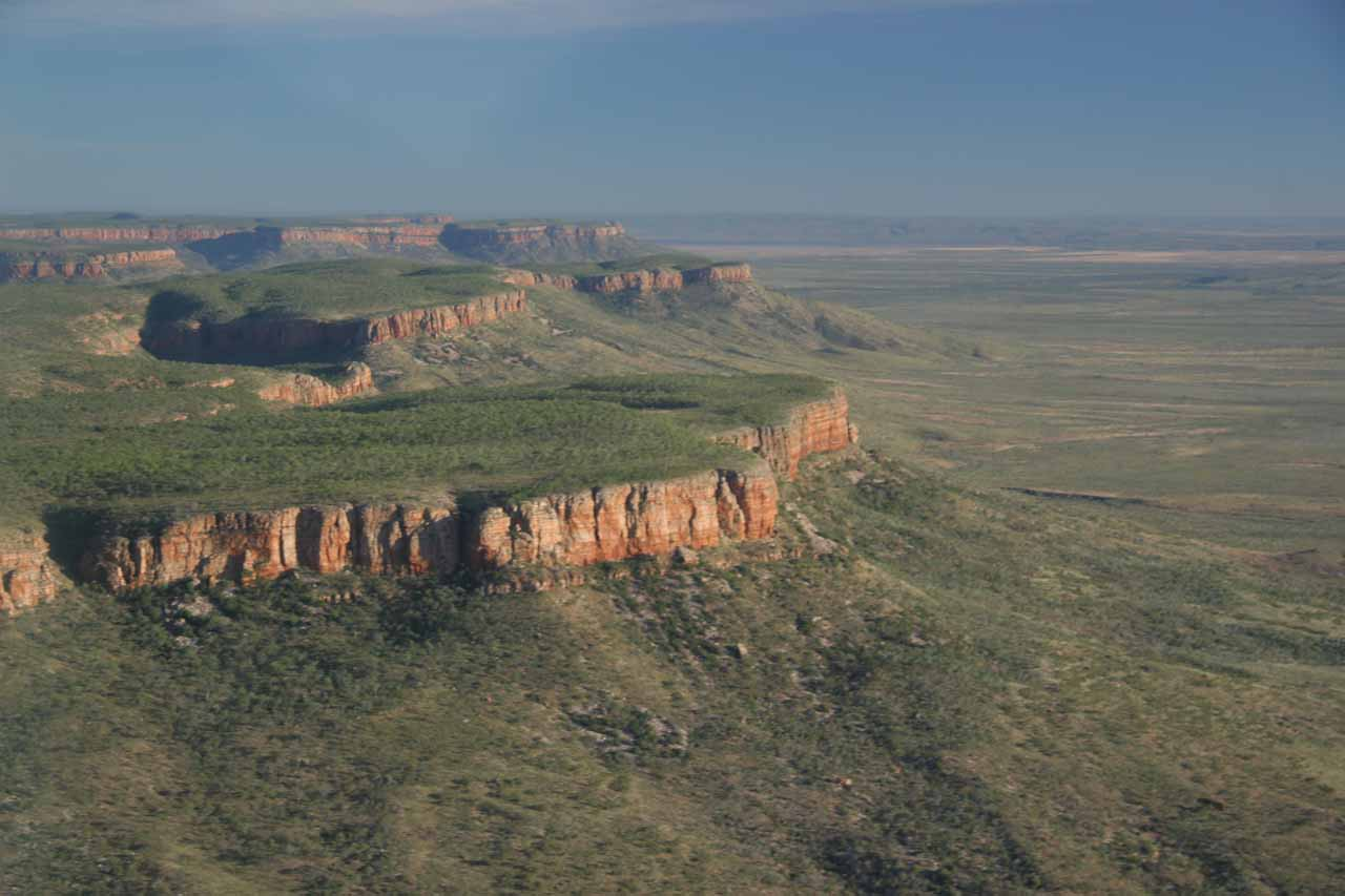 Flying over the escarpments of the Mitchell Plateau