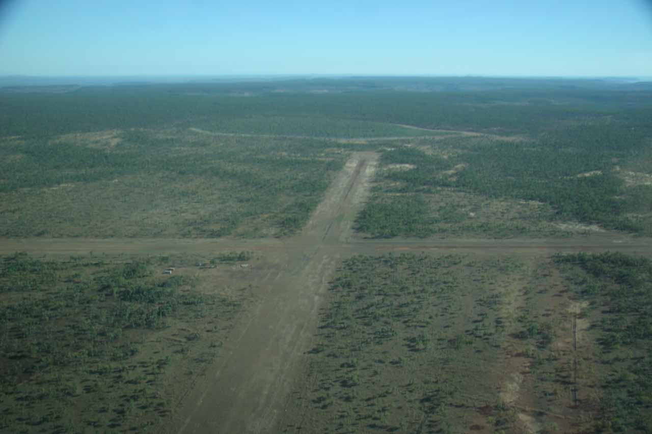 Approaching the unsealed airstrip above the falls