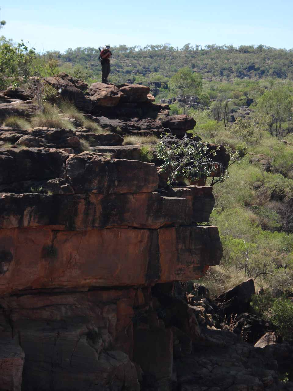 Julie looking back at me standing on an outcrop by Mitchell Falls