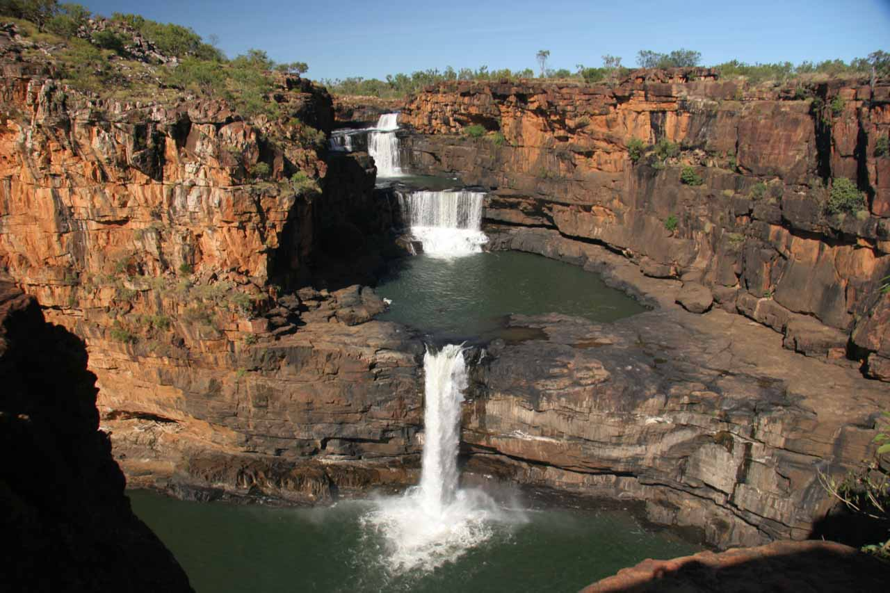 Horizontal look at Mitchell Falls from the precarious lookout