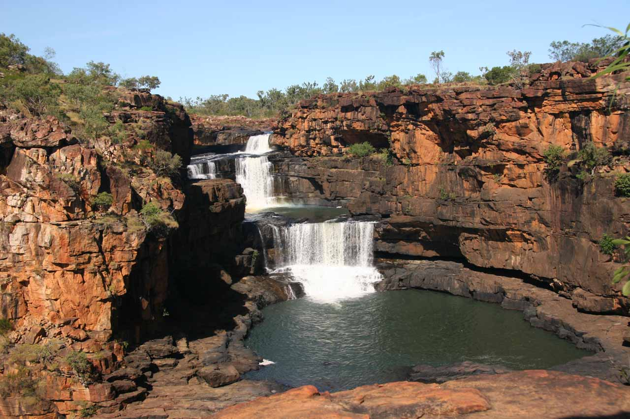 Looking towards the upper tiers of Mitchell Falls from the trail