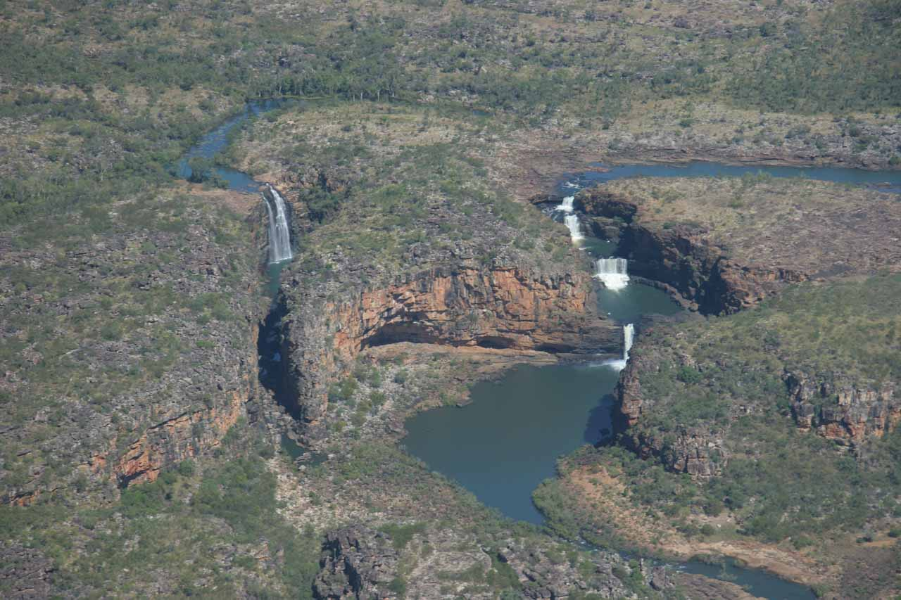 Aerial view of both Mitchell Falls (right) and Big Mertens Falls (left) during the chopper portion of the tour