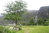 Mo_I_Modalen_054_06272019 - I did some exploring around the public area by the shores of Mofjorden near Bryggjeslottet, which led me to this open lawn area with a nice view of Kvernhusfossen from a distance