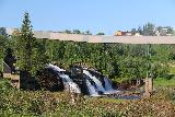 Mo_i_Rana_004_07082019 - More contextual look at the urban waterfall on Tverraga in Mo i Rana in the early morning