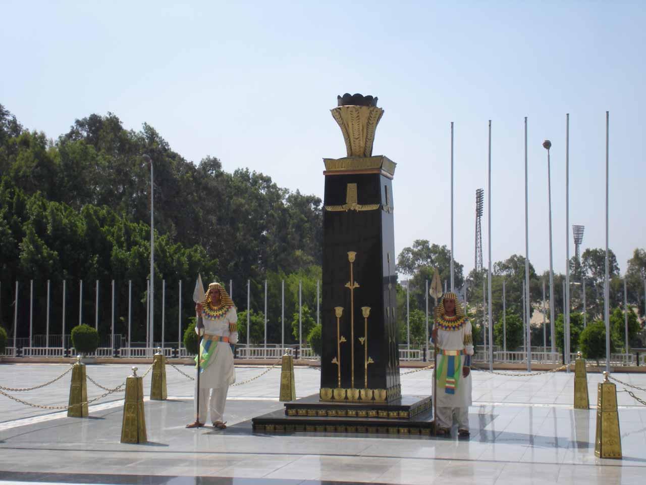 A pair of live guards at the Anwar Sadat Memorial