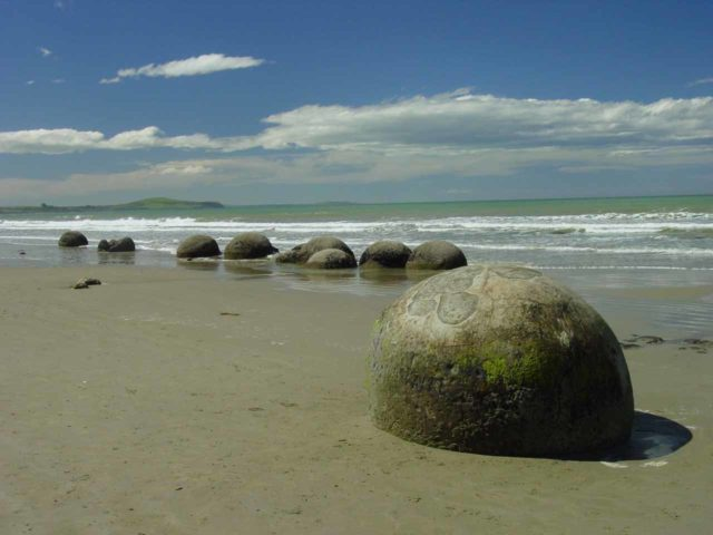 Moeraki_Boulders_004_12012004 - About 62km north-northeast of Dunedin (the city was 134km east of Purakaunui Falls) was the beach containing the Moeraki Boulders, which was a really neat stop
