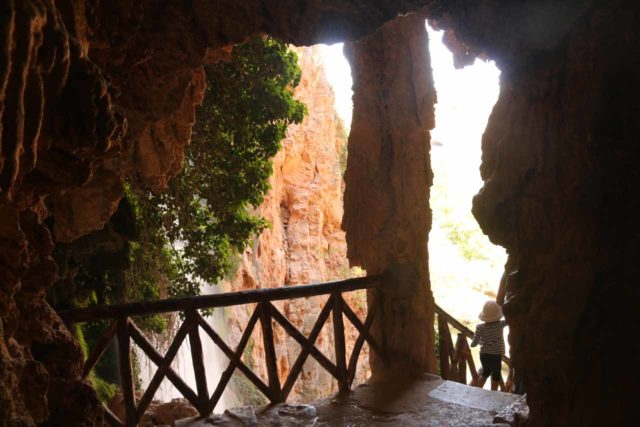 Monasterio_de_Piedra_253_06052015 - Descending the grotto steps of the Gruta Iris, which followed alongside the drop of the Cola de Caballo