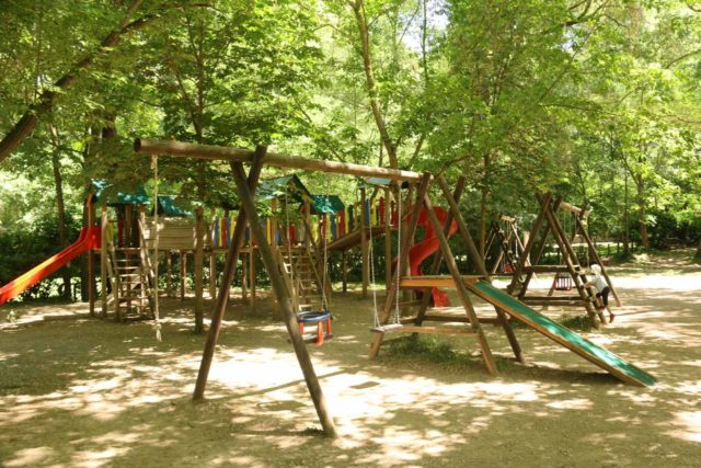 Monasterio_de_Piedra_367_06052015 - A playground at the Zona de Descanso (Rest Zone), which preceded an uphill part of the hike and thrilled our daughter who wasted no time in getting her second wind to play