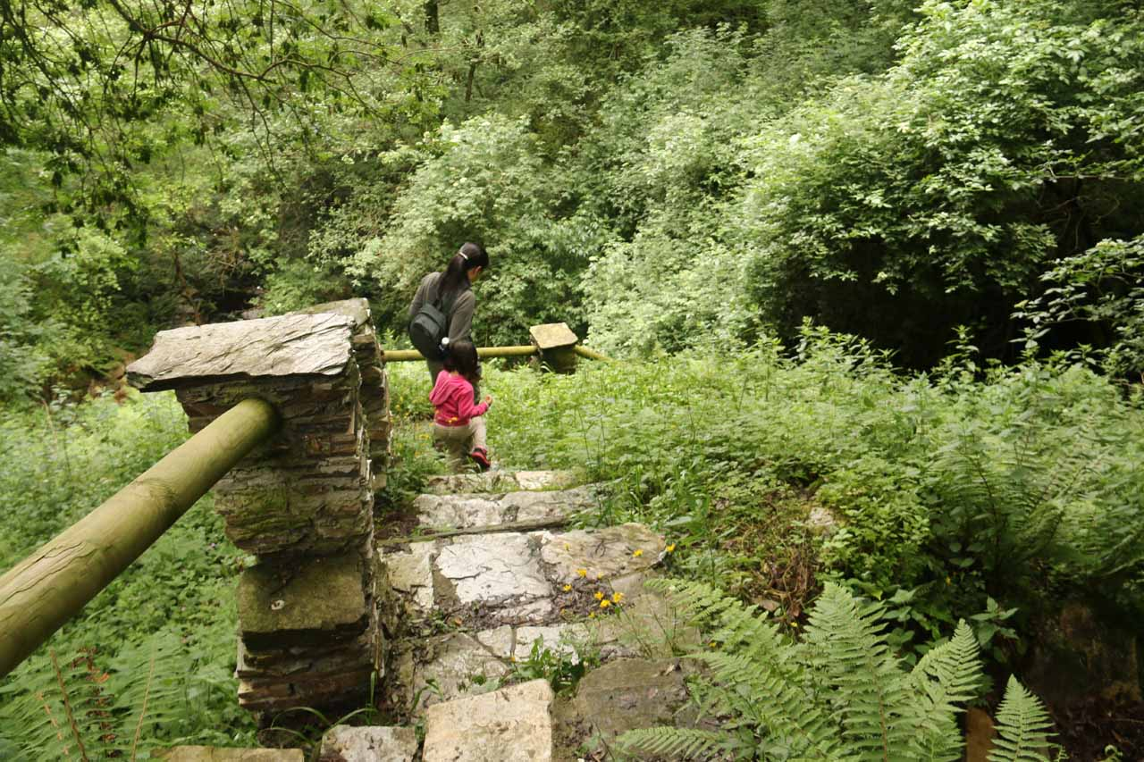 Julie and Tahia slowly making their way down the slippery wet and overgrown stone steps